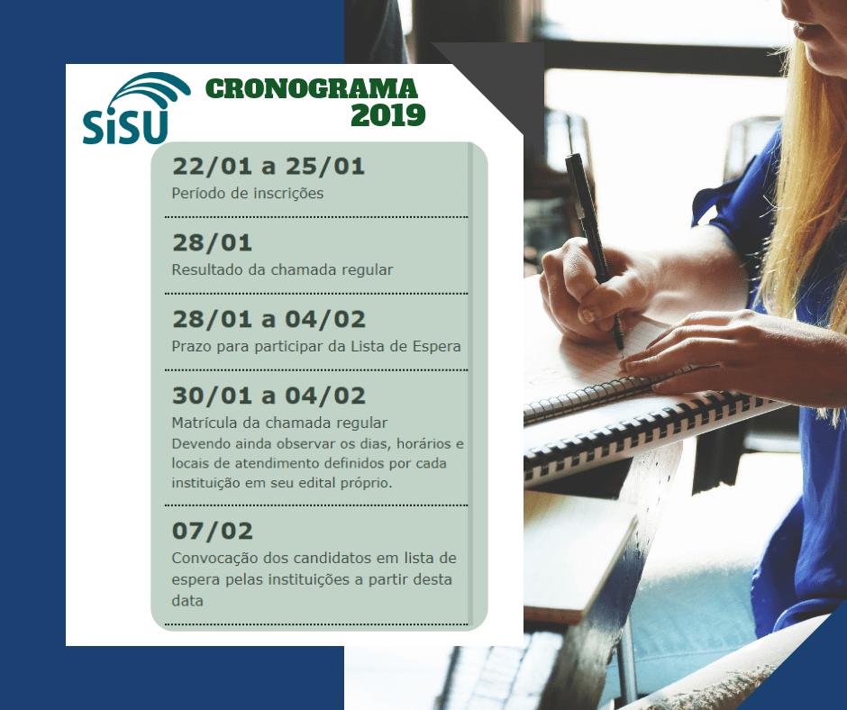 Cronograma Sisu 2019