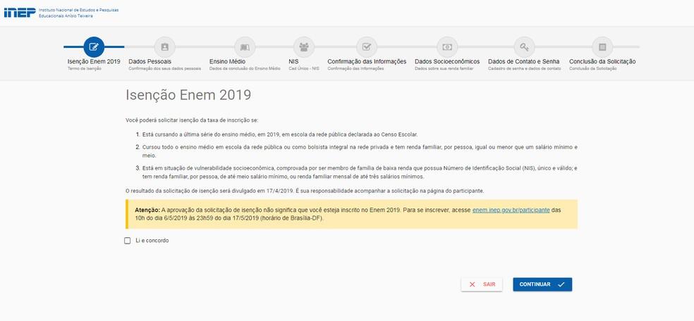 Tela do pedido de isenção do Enem 2019 - Reprodução: Arquivo/Inep